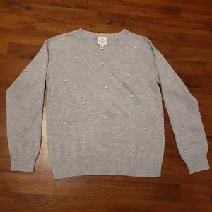 NWT Grey Sweater with Pearl Accents